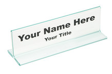 Desk Name Plates Glass Green - Plastic Products Mfg