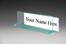 Glass Green Desk name Plate or Top View Cubicle Name Plates - NPBR GG