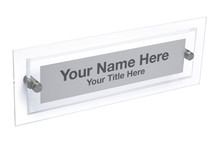 Clear Wall Name Plate with Standoffs - Wall Name Plate Holders