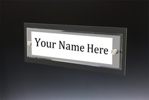 Black Wall Name Plate with Standoffs - Wall Name Plate Holders