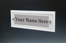 White Wall Name Plate with Standoffs - Wall Name Plate Holders