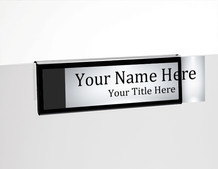 Black Border Glass Wall NamePlates - Cubicle Nameplate Holders