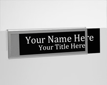 Silver Border Glass Wall NamePlates - Cubicle Nameplate Holders