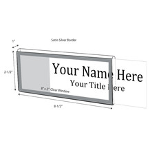 "Silver Border Nameplate for 1"" Glass Wall Cubicle - NamePlates"