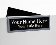 2-Sided Glass Wall Cubicle Nameplates  with Silver Border - NamePlate Holders