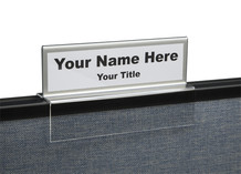 Silver border top view cubicle nameplates - NamePlate Holders