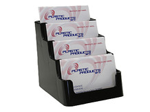 4 Tier Black Business Card Holder